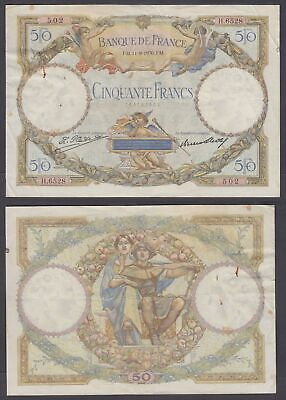 France 50 Francs 1930 (F-VF) Condition Banknote P-80