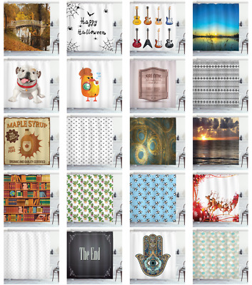Ambesonne Bathroom Decor 12 Hooks Included with Fabric Shower Curtain Sets