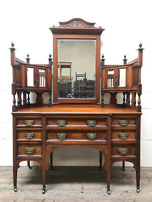 Large Antique Victorian Dressing Table Chest with Mirror - Delivery Available