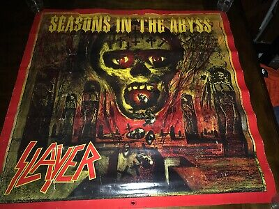 "Rare VTG 1990 Slayer Poster Seasons in the Abyss 36"" Heavy Metal Thrash Band"