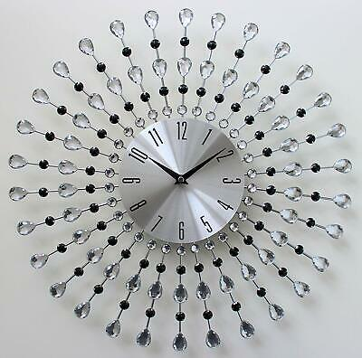 Clear Black Diamante Beaded Wall Clock Jeweled Silver Sunburst Metal 45cm