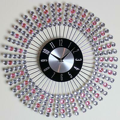 Clear Pink 43cm Diamante Beaded Wall Clock Jeweled Round Sunburst Metal