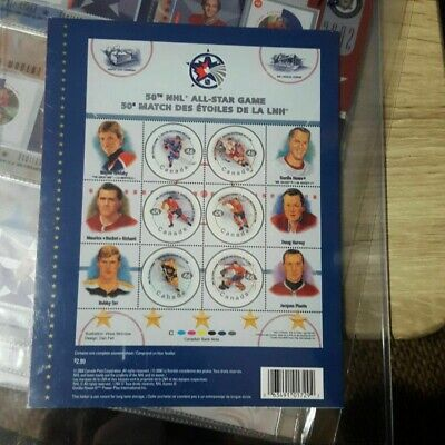 9 NHL Canada Post Stamp Sets 2000 50th All-star Game, 2001 Series 1 &  2 , 2002