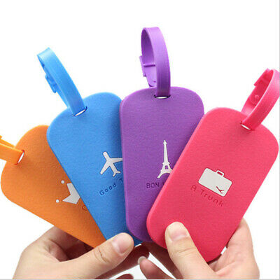 Silicone Luggage Baggage Tags Labels Name Address ID Suitcase Travel Cartoon US