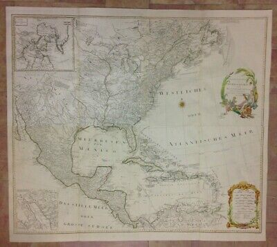 NORTH AMERICA WALL MAP DATED 1788 by SCHRAEMBL ANTIQUE ENGRAVED XVIIIe CENTURY