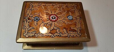 Vintage Hand Painted Floral Glass Wooden Trinket Vanity box 4'' X 5''