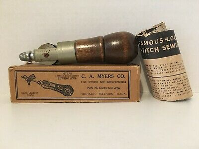 Vintage C.A. Myers Famous Lock Stitch Sewing Awl Chicago Illinios USA