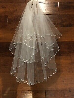 "Stunning Crystal Scallop 72"" Ivory Veil 2 Tier Boutique RRP£140 Bride Bridal"