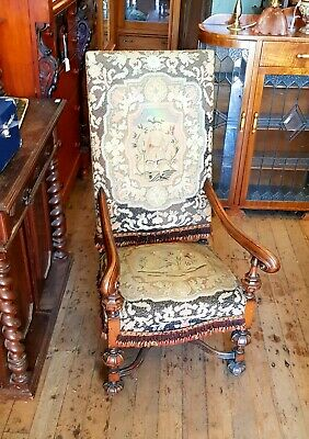 Armchair One Fauteuil French Antique Tapestry Gothic