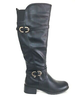 Ladies Womens Knee High Black Leather Faux Low Heel Boots Shoes Size 3