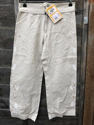 NEW Girls O'Neill Age 14 COTTON Pearl Beige Trousers Cropped Floral Print SUMMER