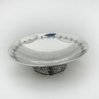 Gorham Japanese Motif Footed Dish Sterling Silver 1872