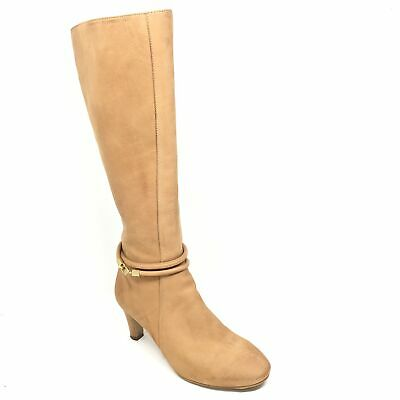 Women's Ecco Knee High Boots Shoes Size 36 EU/6 B US Tan Leather Side Zip S6