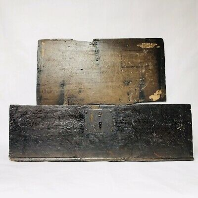 17th Century Carved Oak Bible Deed Box. English.
