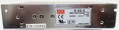 MW Mean Well S-60-5 Power Supply, 5V 12A