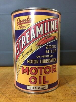 Streamline Motor Oil Can Rare Empty Quart Gas sign Reproduction Vintage Style