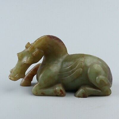 Chinese Exquisite Hand-carved horse Carving Hetian jade statue