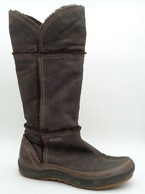 ECCO Brown Leather Knee High Slip On Winter Comfort Boots Women's 41 US 10/10.5
