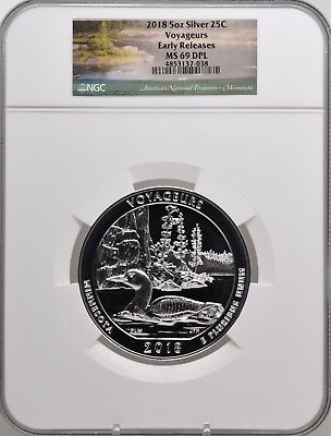 2018 5oz SILVER 25C Voyageurs NGC MS 69DPL Early Releases must see!