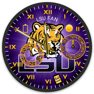 "LSU ""It's Fighting Tigers Time!"" Clock Face Tiger Mascot Type Magnet"