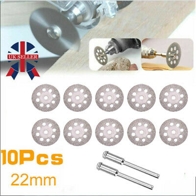 10 mini Diamond Cutting Discs Wheel Blades Set Drill Bit Fo Dremel Rotary tool Y