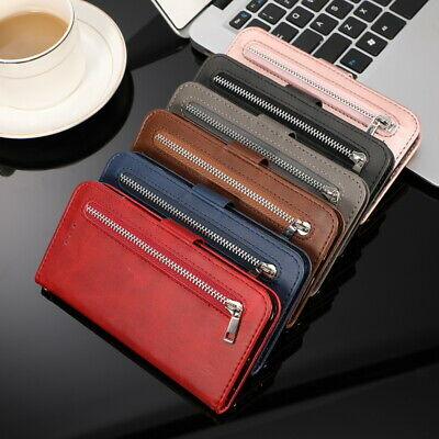 Leather Flip Card Wallet Zip Case For Samsung Galaxy Note 10 Plus S10 S9 J4 J6