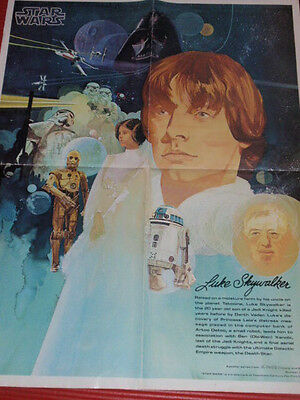 Star Wars Poster 1977 Luke Skywalker  From Coca Cola And Burger King