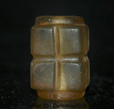 """1.6"""" Old Chinese HongShan culture Crystal Hand-carved jade cong amulet pendant"""