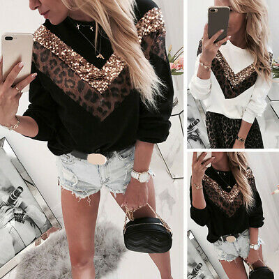 Womens Leopard Sequin Baggy Sweatshirt Ladies Long Sleeve Casual Blouse T Shirt