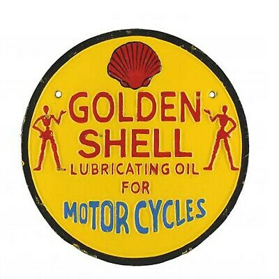 Shell Garage Advertising Sign Repro Vintage Style Cast Iron Plaque 42cm Man Cave