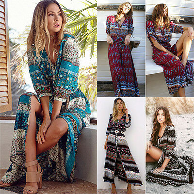 Womens Boho Floral Gypsy Hippie Long Maxi Dress Holiday Party Beach Casual Dress