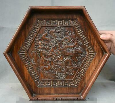 "14.4"" Old Chinese Huanghuali Wood Dynasty Carved Dragon Phoenix Dish Tray Plate"