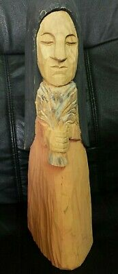 """Vintage Wooden Wood Hand Carved Wood Figure Statue Holding bunch of Wheat 19"""""""