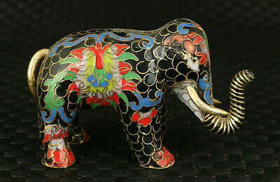 Chinese rare old cloisonne hand painting Elephant statue figure decoration