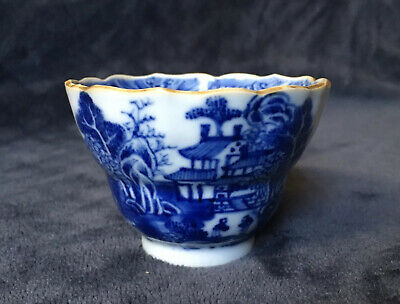 Late 18th Century Antique Chinese Export Blue White Scalloped Edge Tea Bowl Cup