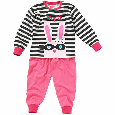 Cozy n Dozy Girls Cute Dog Rabbit Pyjamas Spotty Stripe Long Sleeve Cotton 2-6yr