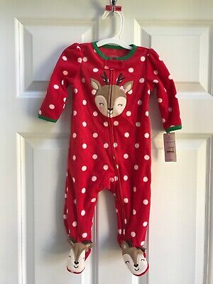 Carters Just One You Christmas Reindeer Fleece Footed Romper Size 6M