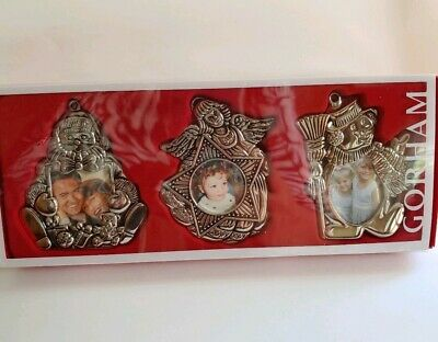 Gorham Silverplate Christmas Photo Frame Tree Ornament Angel Snowman Set 3 NEW
