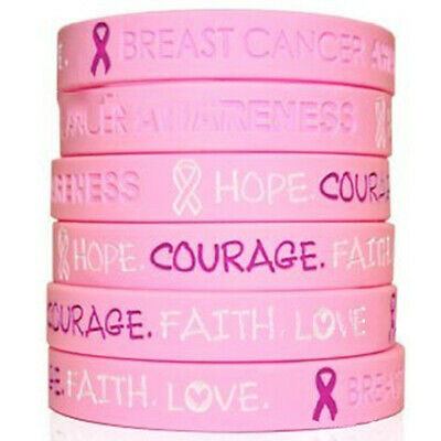 Breast Cancer Awareness Silicone Bracelet HOPE CORAGE Pink Wristband Adult Kids