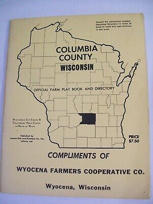 Vintage Columbia County Wisconsin Official Farm Plat Book + Directory 1967 1970