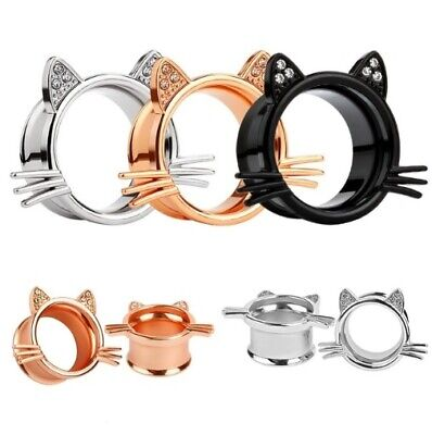 stainless steel Cheshire Cat Logo Ear Gauge Plug And Tunnel Stretcher Expander Screw Flesh Tunnels