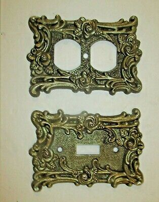 Vintage American Tack& Hardware Ornate  Brass Switch And Electric Outlet Pla