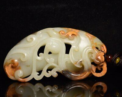 Chinese Exquisite Hand-carved Dragon Carving Hetian jade Pendant