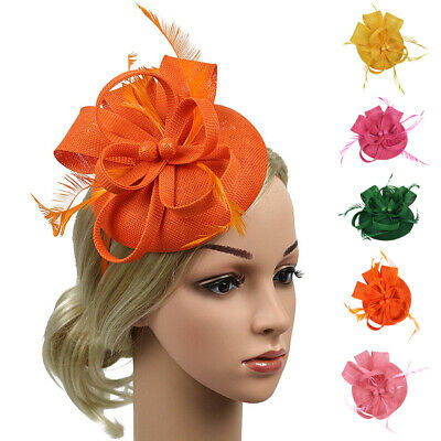 Womens 1920s Feather Fascinator Headband Hair Clip Headpiece Pillbox Hats