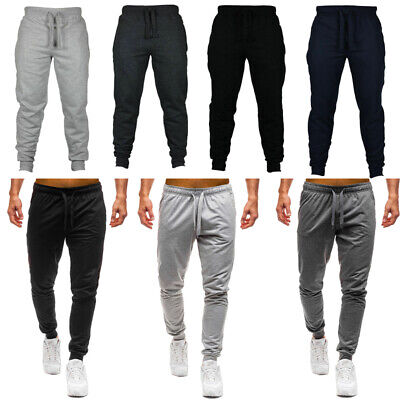 AU Men Gym Slim Fit Trousers Tracksuit Bottoms Skinny Joggers Sweat Track Pants