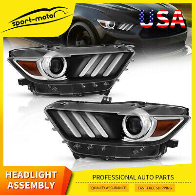 For 2015-2017 Ford Mustang Black Projector Headlights Headlamp Replacement Pair