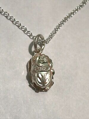 Stunning Vintage Solid Sterling Silver Egyptian Scarab Beetle Pendant Necklace
