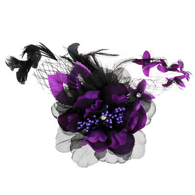 Flower Feather Prom Corsage Hair Clip Fascinator Brooch Wedding Bridal Jewelry