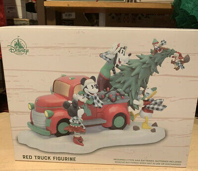 Disney Parks Mickey Mouse Christmas Red Truck Figurine New 2019