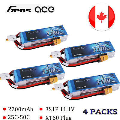 4X Gens ace 25C 2200mah 11.1V 3S Lipo Battery XT60 Plug For RC Helicopter Glider